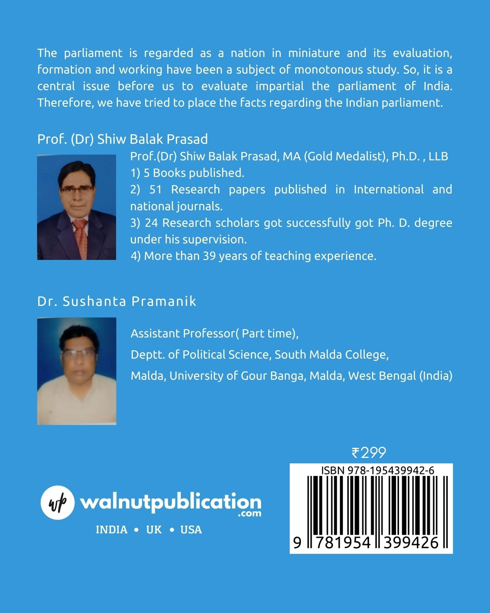 Working of Indian Parliament: Theory and Practice - Back Cover