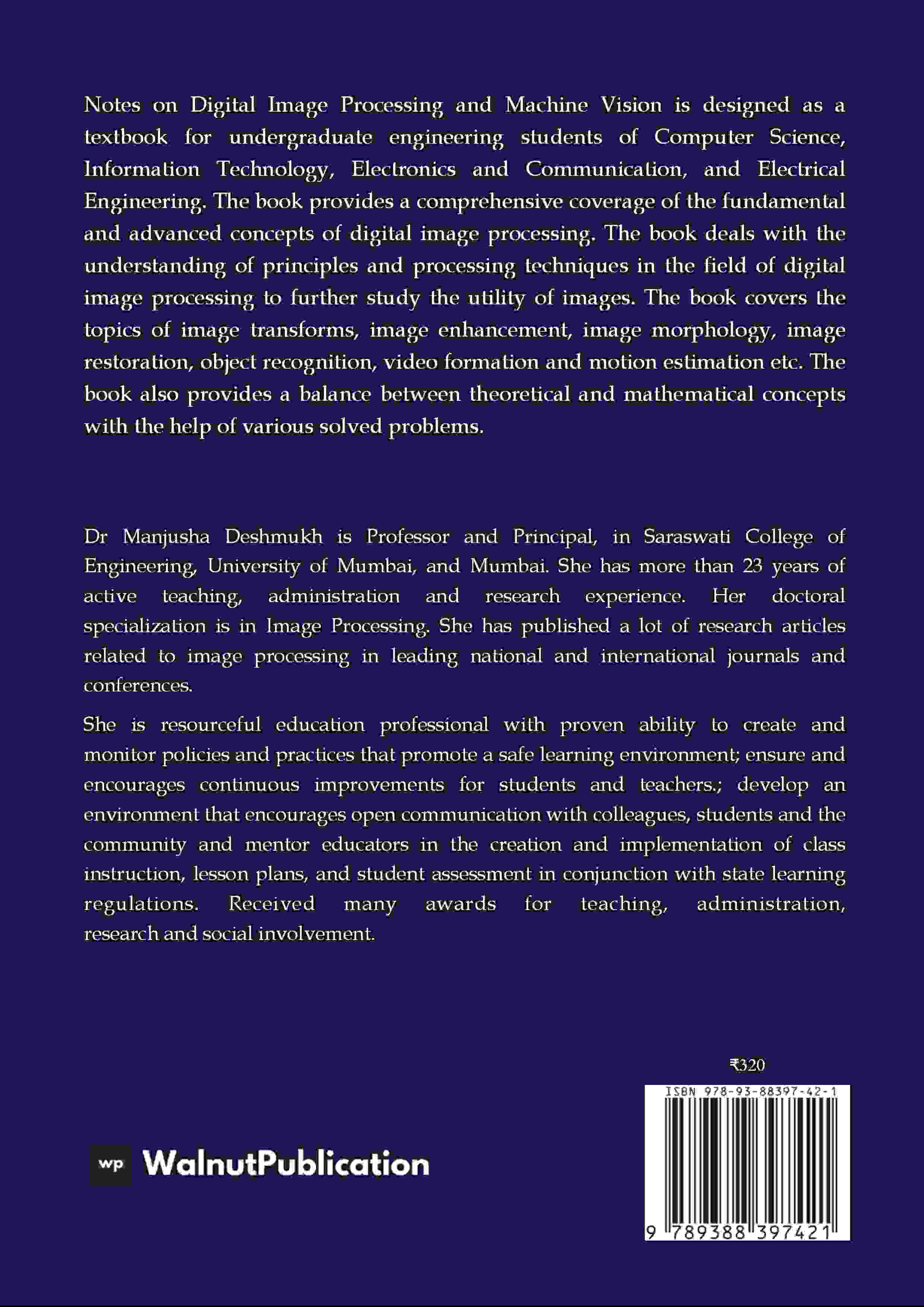 Notes on Digital Image Processing and Machine Vision - Back Cover