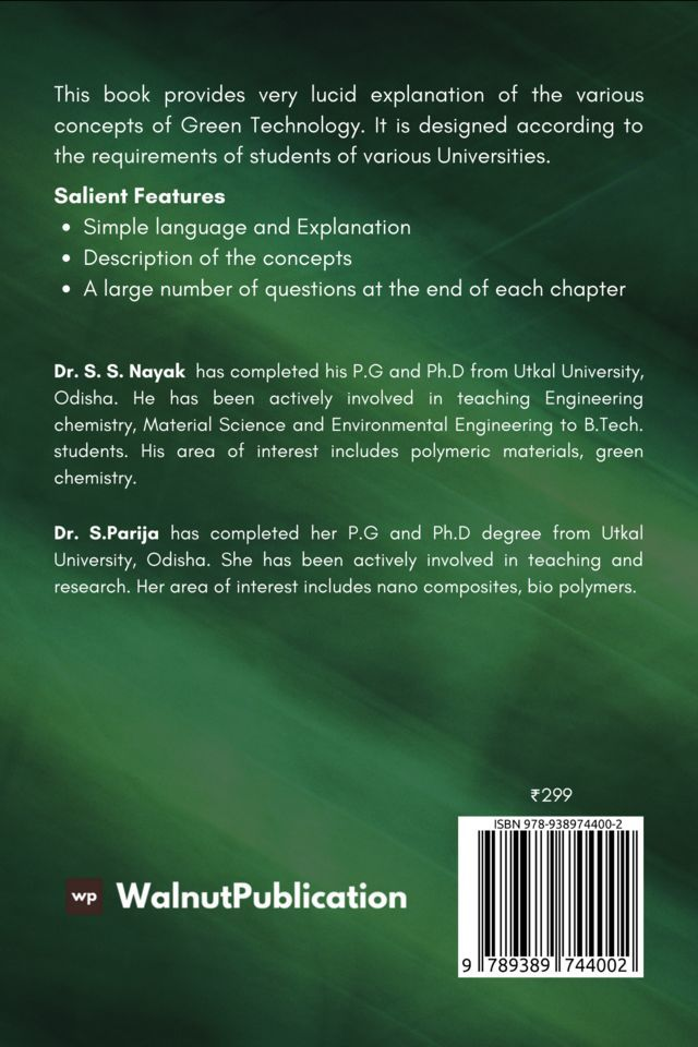 An Introduction to Green Technology - Back Cover