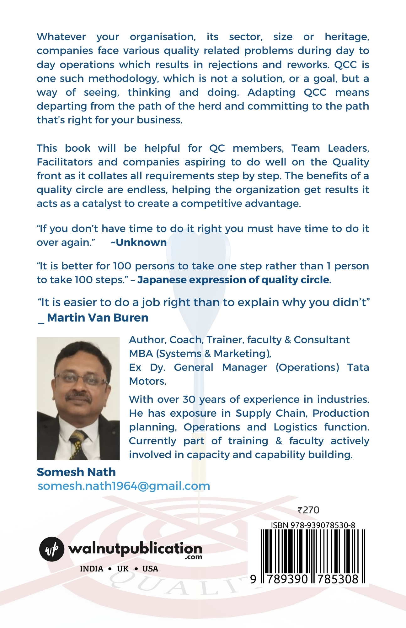 QCC – Quality Circle Mantras - Success through Teamwork - Back Cover
