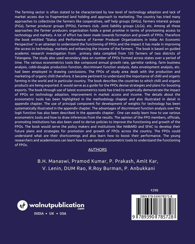 Status and Performance of Farmer Producer Organizations in India: An Economic Perspective - Back Cover