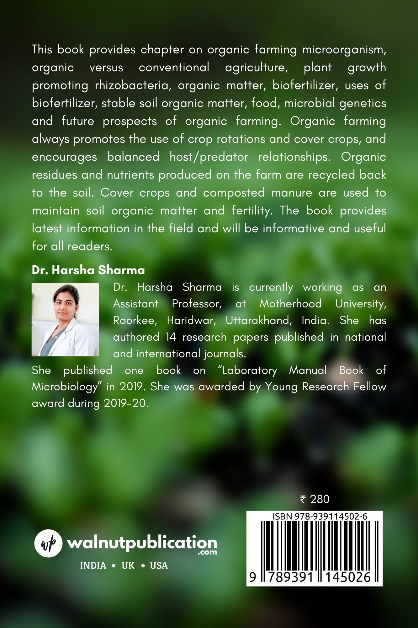 Organic Farming - Plant growth promoting bacteria and organic matter as a biofertilizer:- Importance in Vegetables - Back Cover