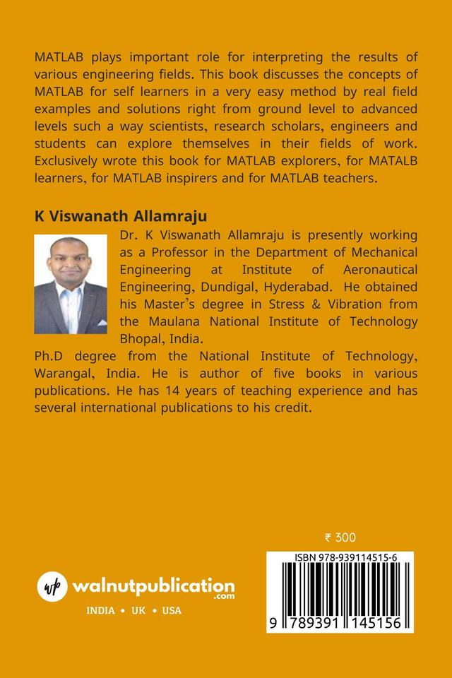 Start with Matlab for mechanical engineers - Back Cover
