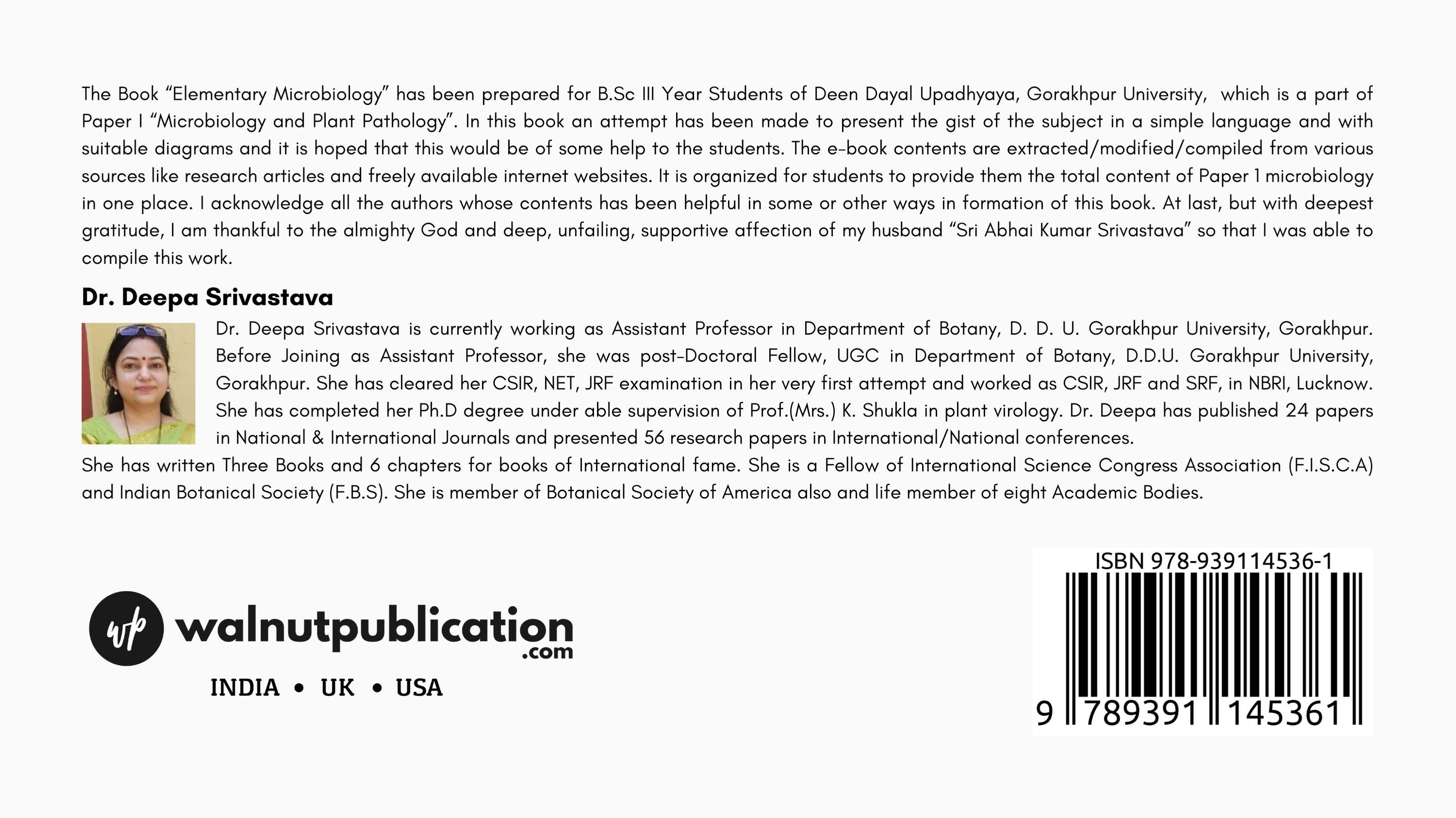 Elementary Microbiology - Back Cover
