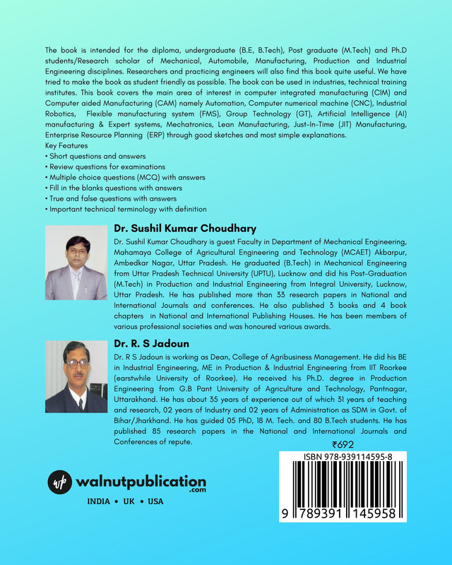 Computer Integrated Manufacturing & Computer Aided Manufacturing - Back Cover