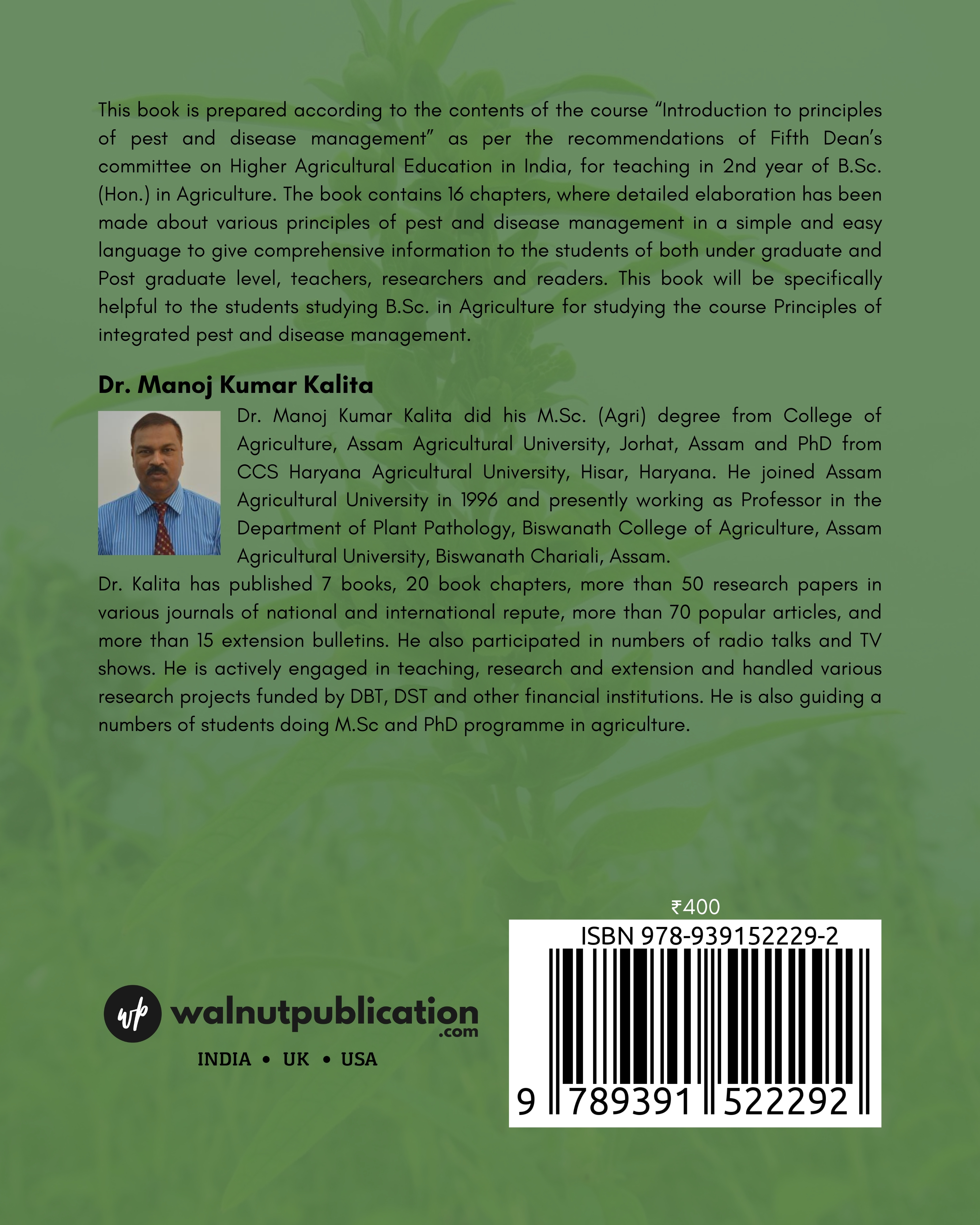 Introduction to principles of pest and disease management - Back Cover