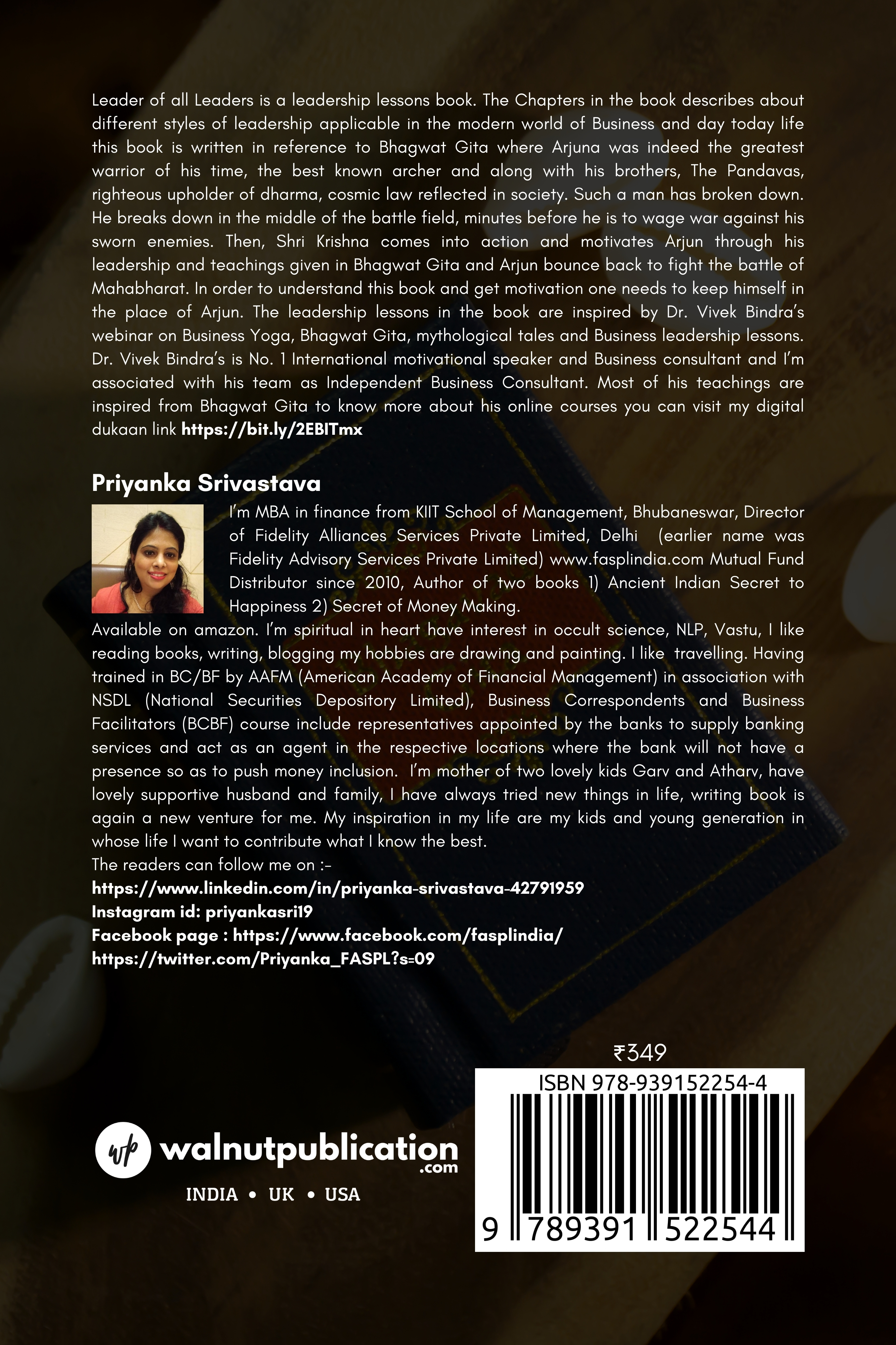 Leader of all Leaders - Inspired by Bhagwat Gita - Back Cover